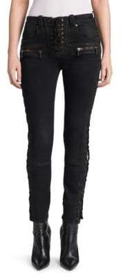 Taverniti So Ben Unravel Project Wax Denim Lace-Up Skinny Jeans