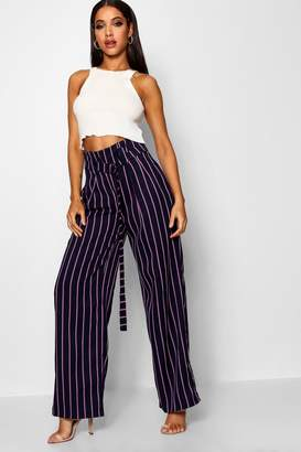 boohoo Pinstripe Paper Bag Buckle Wide Leg Trouser