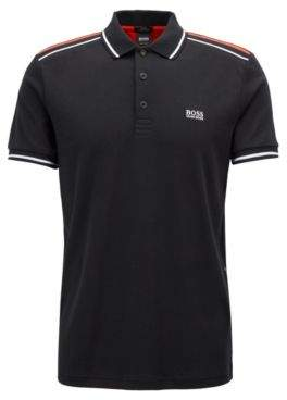 BOSS Hugo Slim-fit polo shirt in luxury cotton colorblocking M Black