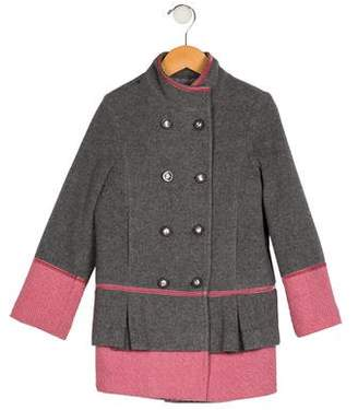 Miss Blumarine Girls' Wool Double-Breasted Coat