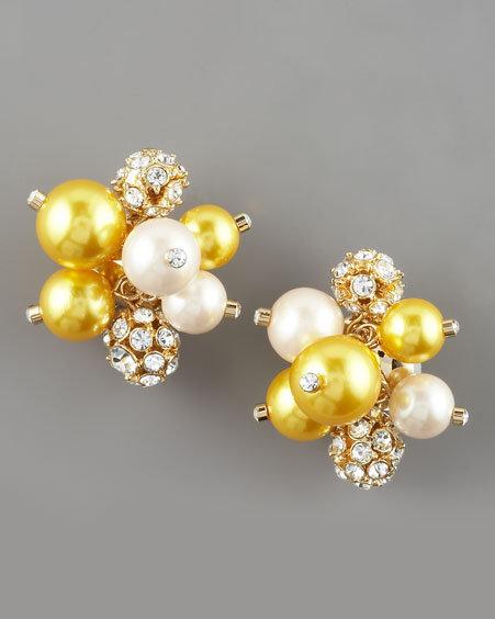 Kate Spade Yellow Cluster Pearl Earrings
