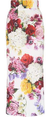 Dolce & Gabbana Floral Print Cady Midi Skirt