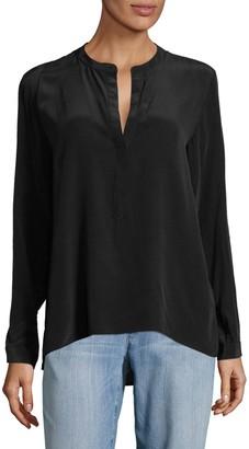 Leo & Sage Mandarin Collar Silk Blouse