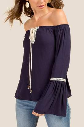 Calista Front Latice Off The Shoulder Blouse - Navy