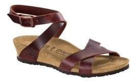 Birkenstock Lola Leather Ankle-Strap Wedge Sandals