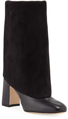 Stuart Weitzman Lucinda Mixed Leather Fold-Over Booties