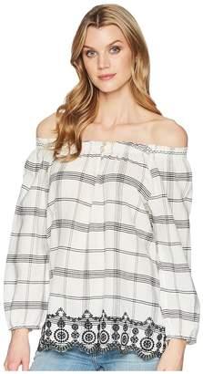 Chaps Cotton Off-the-Shoulder Shirt Women's Blouse
