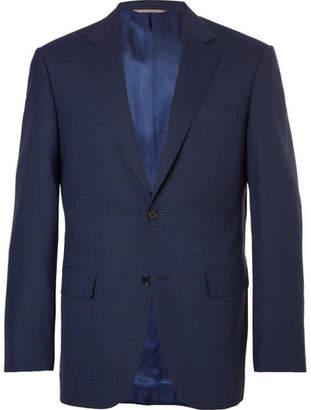 Canali Navy Slim-Fit Melange Stretch-Wool Suit Jacket - Men - Navy