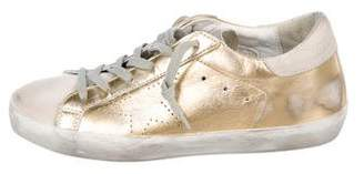 Golden Goose Leather Distress Round-Toe Sneakers