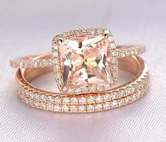engagement-rings Just engagement ring listing, without the matching band, 1.25 carat Morganite and Diamond 10k Rose Gold with One Engagement Ring
