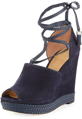 MICHAEL Michael Kors Hastings Suede Ankle-Wrap Wedge Sandal $195 thestylecure.com