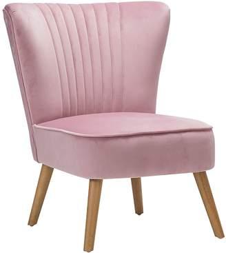 Warehouse Eastern Promotions Velvet Slipper Accent Chair, Blush Pink