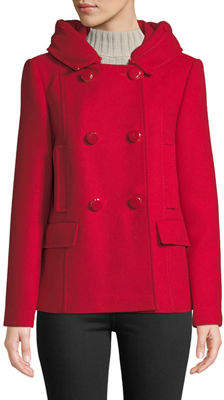 Kate Spade College Girl Hooded Pea Coat