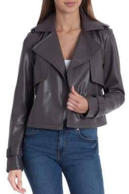 Bagatelle Cropped Faux Leather Trench Coat