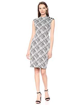 Calvin Klein Women's Sleeveless Sheath with High Neckline Dress