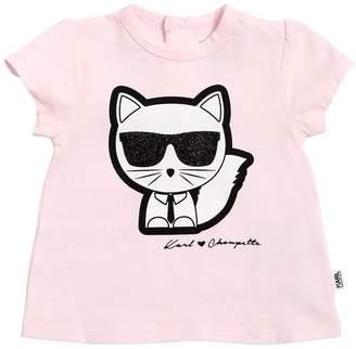 Karl Lagerfeld Choupette Print Cotton Jersey T-Shirt