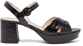 Prada Platform Crocodile Effect Leather Sandals - Womens - Black