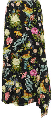 Vilshenko Eliza Asymmetric Printed Silk Midi Skirt - Black