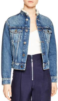 Sandro Eve Frayed Collar Denim Jacket