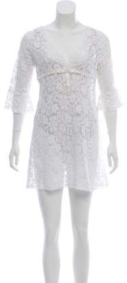 Velvet Lace Three-Quarter Sleeve Dress