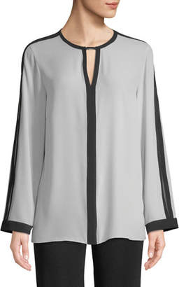 Misook Silky Keyhole-Front Blouse w/ Contrast Trim, Marble/Black