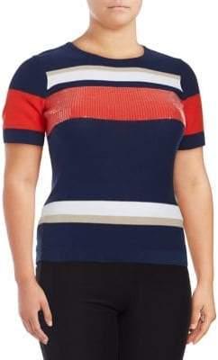 Joan Vass Striped Short Sleeve Sweater