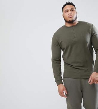 Asos Design DESIGN Plus Sweatshirt With Button Neck In Khaki Nepp