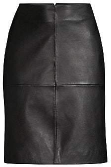 Donna Karan Women's Seamed Leather A-Line Skirt