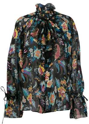 Etro floral print tie cuff shirt