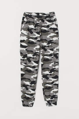 H&M Patterned Cargo Pants - Gray