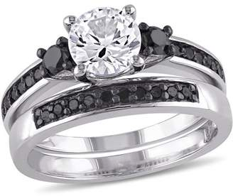 Black Diamond Asteria 1-3/8 Carat T.G.W. Created White Sapphire and 2/5 Carat T.W. Sterling Silver Three-Stone Bridal Set