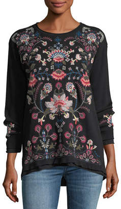 Johnny Was Nindi Embroidered Thermal Pullover, Petite