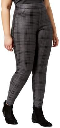 Hue Women's Metallic Plaid Printed Plus Size Leggings (Grey,)