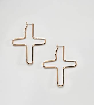 Reclaimed Vintage inspired cross hoop earrings