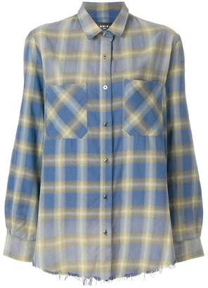 Amiri plaid raw hem shirt