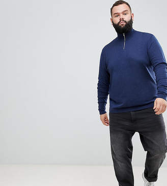 Asos Design DESIGN Plus knitted half zip sweater in navy