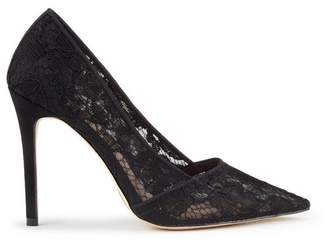 Miss Selfridge Black lori lace heel court shoes