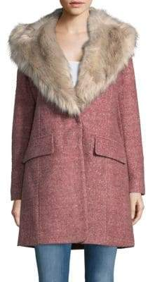 Badgley Mischka Wool-Blend Faux Fur Collar Walker Coat