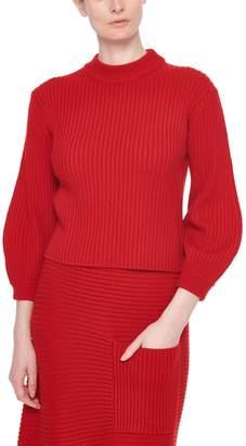 Tibi Merino Rib Sweater Slit Neck Pullover