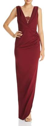 Katie May Lace-Inset Crepe Gown