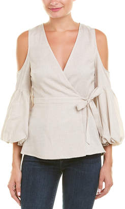 BCBGMAXAZRIA Cold-Shoulder Linen-Blend Wrap Top