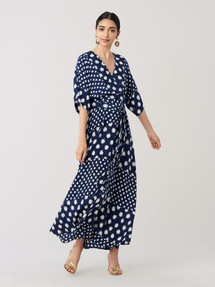 f336f847cf Diane von Furstenberg Eloise Silk Crepe De Chine Maxi Faux-Wrap Dress