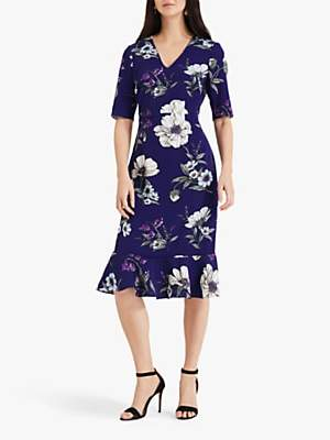 Phase Eight Cheryl Floral Tailored Dress, Bright Lapis