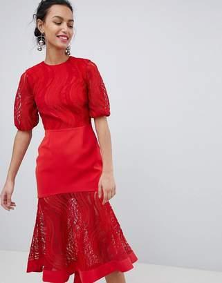 Keepsake lace midi dress in ruby red