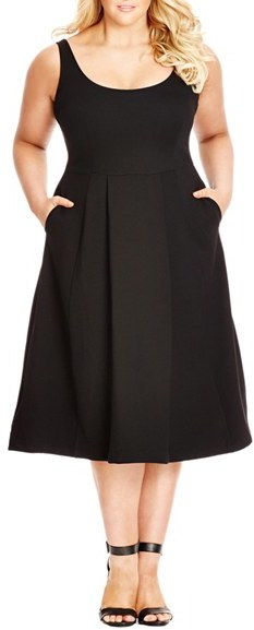 City Chic Plus Size Women's Classic Longline Scoop Neck Midi Dress
