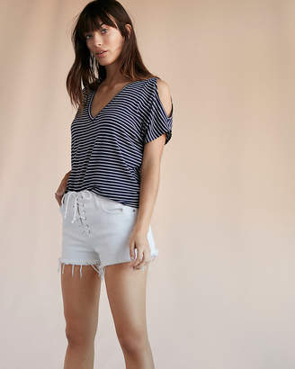 Express One Eleven Striped Cold Shoulder London Tee