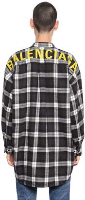 Balenciaga Logo Printed Check Cotton Flannel Shirt