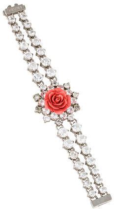 pradaPrada Rose & Crystal Link Bracelet
