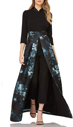 85eac8a2af Kay Unger New York Crepe Jumpsuit w  Floral Skirt Overlay