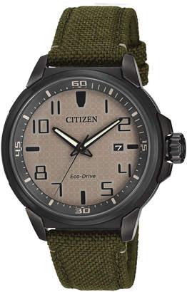 Citizen 43mm Men's Eco-Drive Watch w/ Canvas Strap